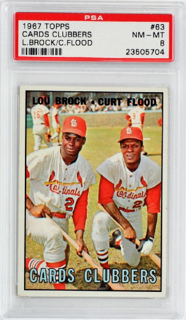 1967 Topps Cards Clubbers Brock/flood Psa 8