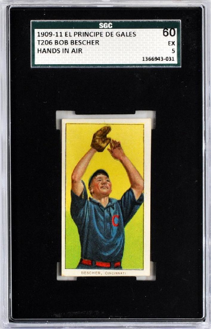 1909-11 T206 Bob Bescher Epdg Back Sgc 60