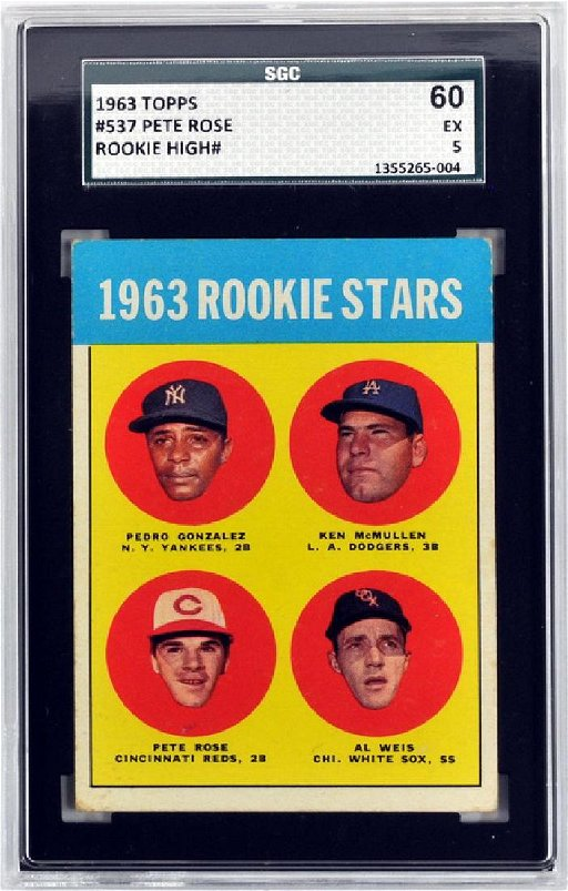 1963 Topps Pete Rose Rookie Card Sgc 60 Ex 5