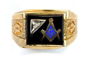 10kt. Gold Black Onyx Masonic Ring