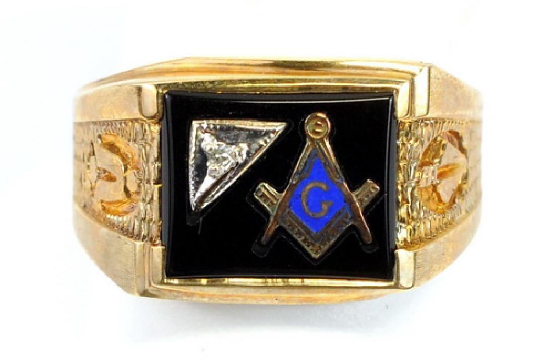 10kt. Gold Black Onyx Masonic Ring