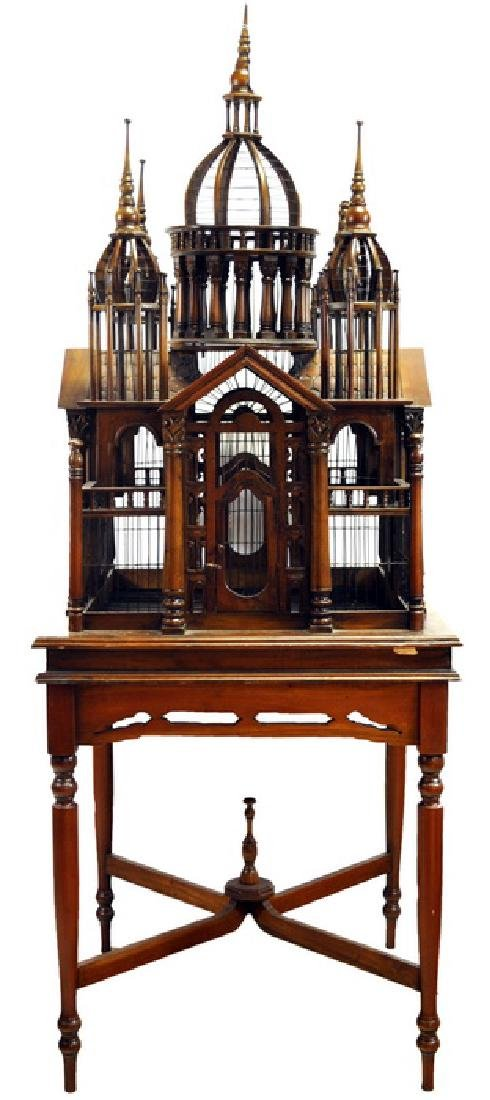 Victorian Mahogany Cathedral Birdcage on stand