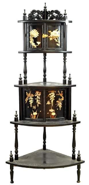 Vintage Chinese black whatnot shelf