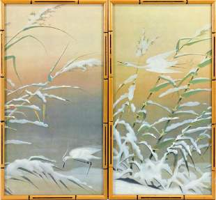 Two Bill Jewell prints of herons in the snow
