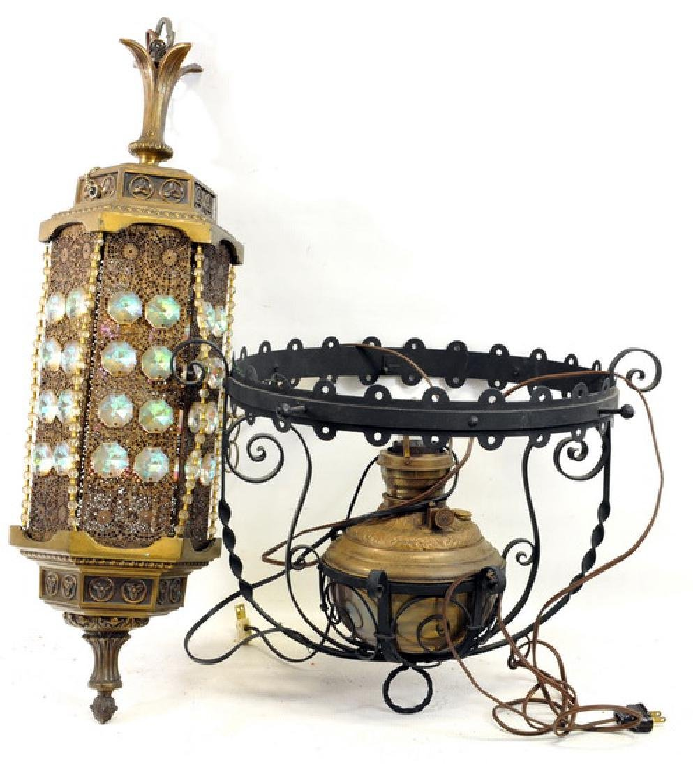 Vintage wrought iron hanging lamps (2)