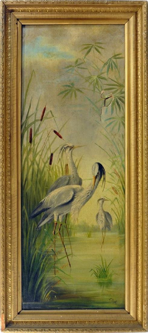 Two signed blue Heron paintings