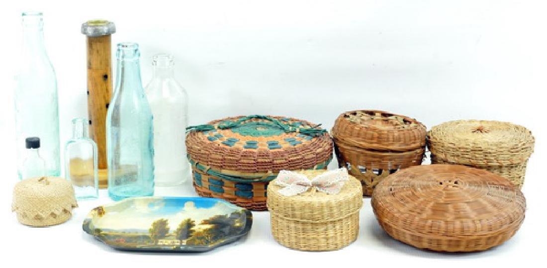 Vintage sewing baskets, lids and bottles