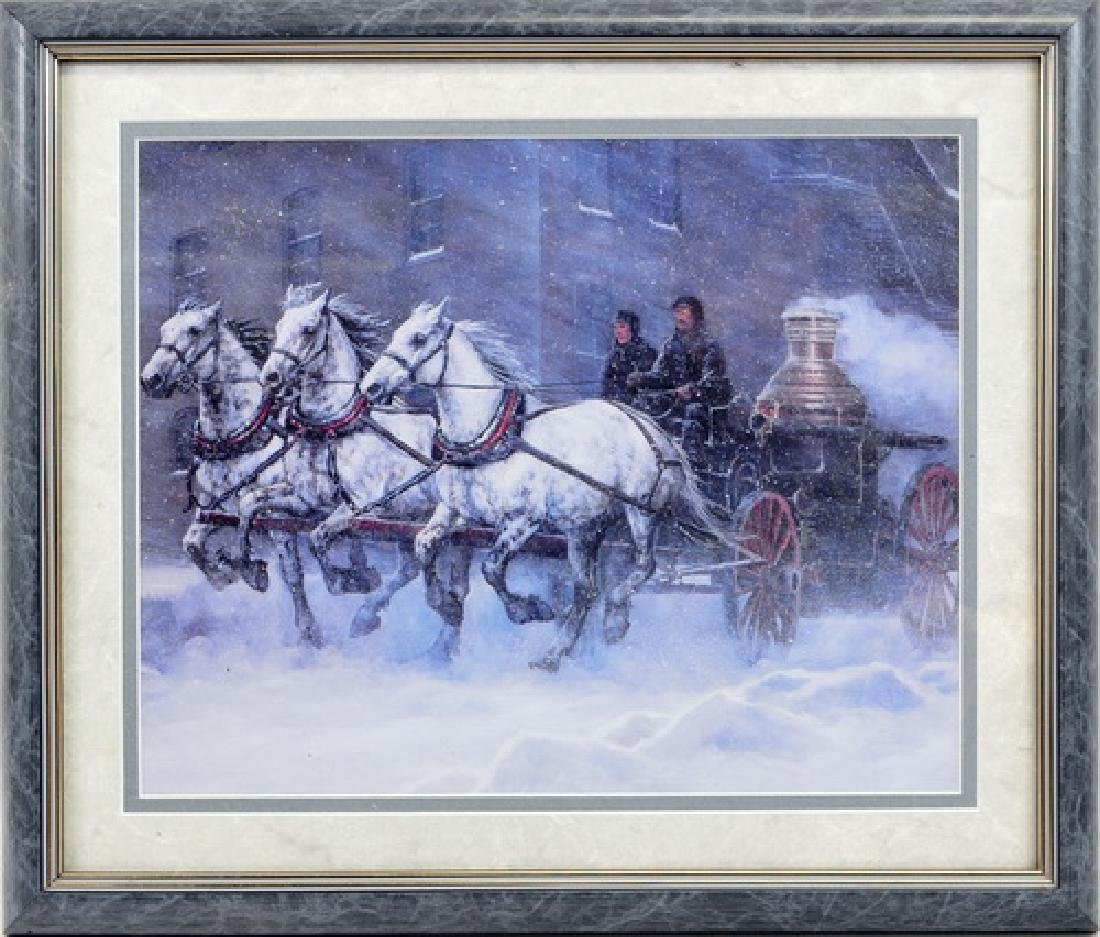 Pair of horse prints signed R. Cummings 1989
