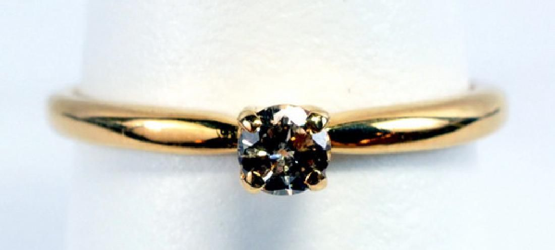 Ladies 14k Yellow Gold Champagne Diamond Ring