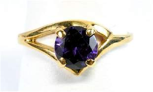 Ladies 10k Yellow Gold Gemstone Ring Size 6 1/4