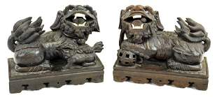 Pair of Carved Wood Chinese Foo Dogs