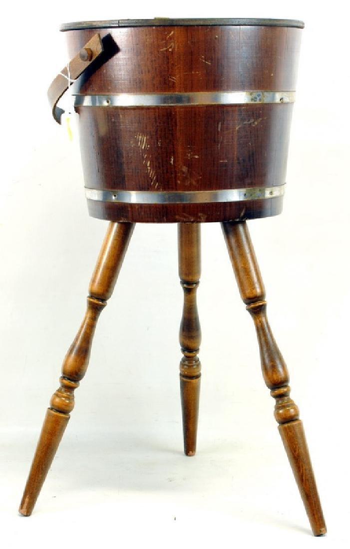 C.L. Lane Co Firkin Wood Bucket Sewing Stand