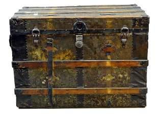 Antique Steamer Travel Trunk Chest