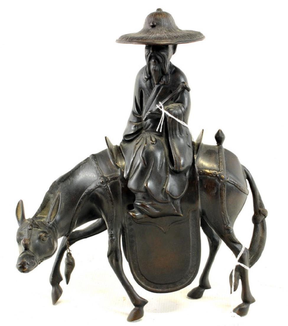 Antique Bronze Chinese Man on Horse two piece