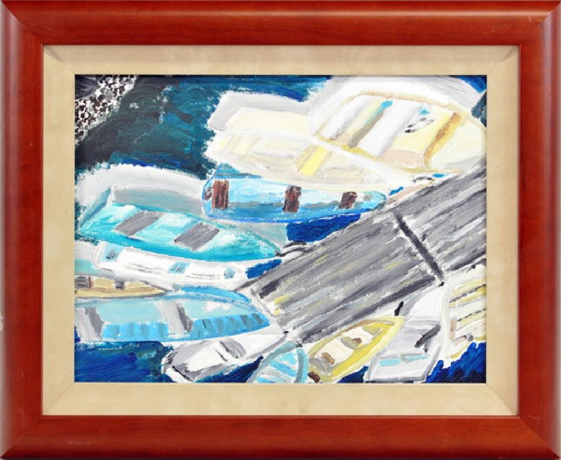 Oil On Board Of Skiffs In Harbor