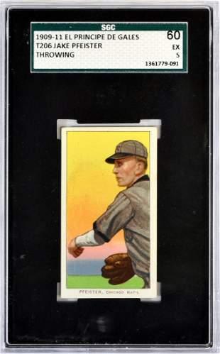 1909-11 T206 Jake Pfeister Epdg Back Sgc 60 Ex 5
