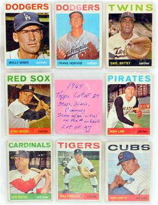 37 1964 Topps Baseball Cards Stars/commons