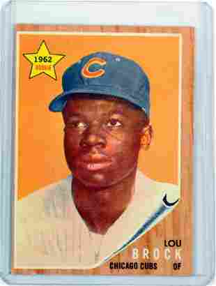 1962 Topps Lou Brock Rookie Card Ungraded