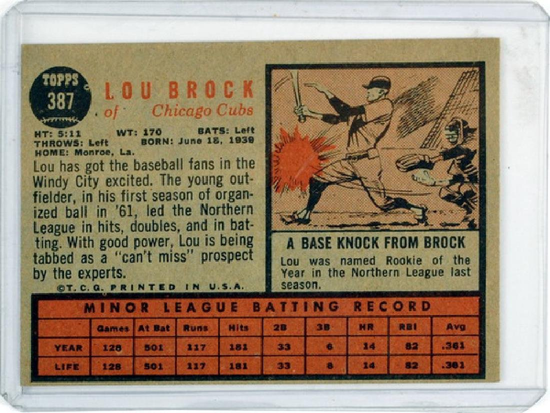 1962 Topps Lou Brock Rookie Card Ungraded - 2
