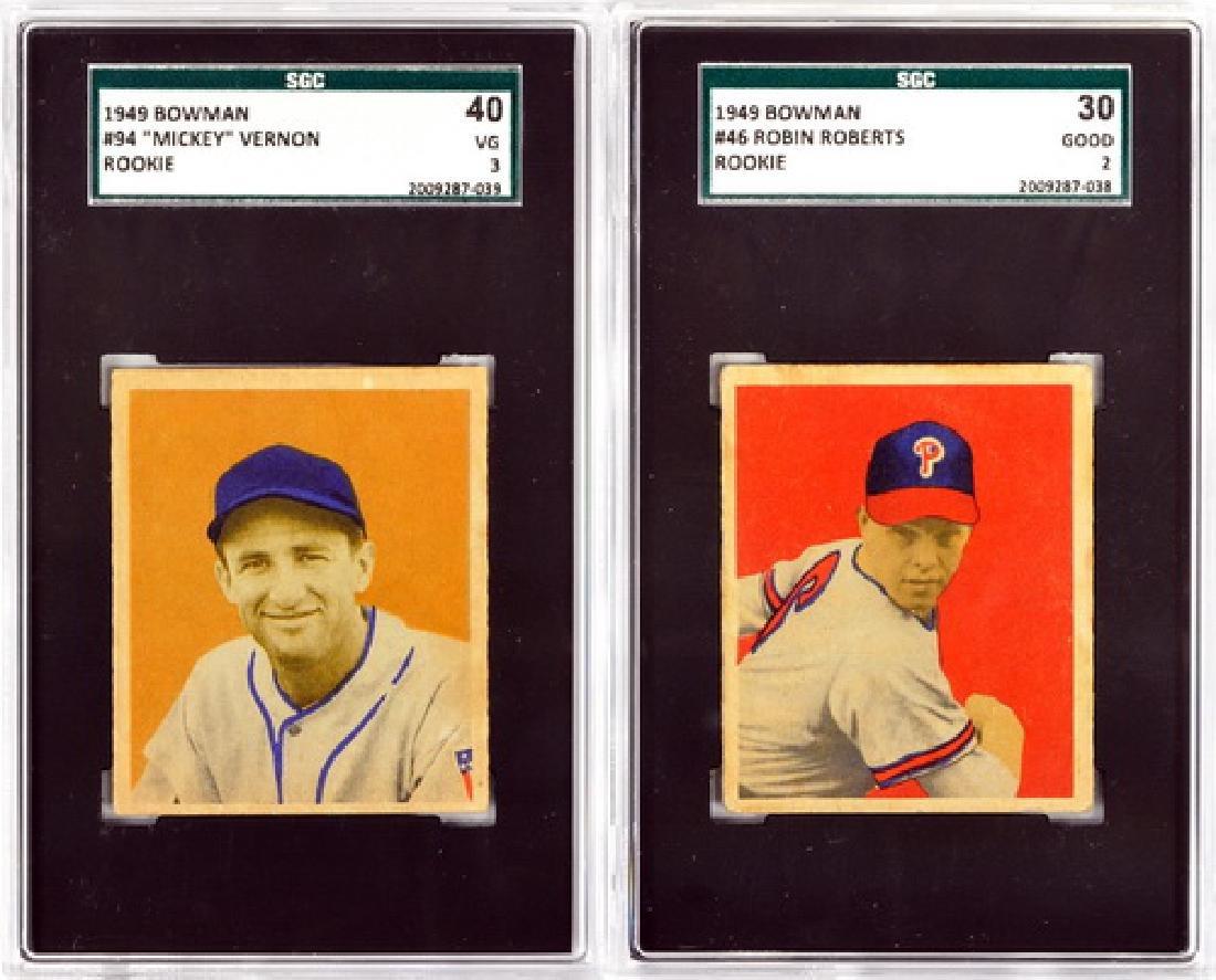 Two 1949 Bowman Baseball Rookies/roberts/vernon