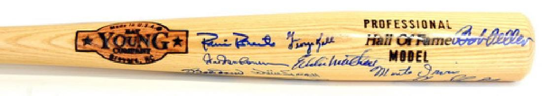 Multi Signed Hall Of Fame Bat Jsa Loa - 2