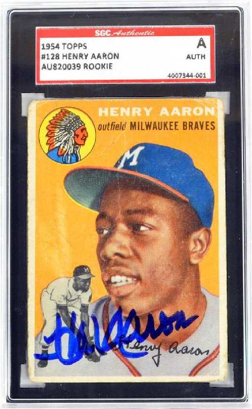 1954 Topps Hank Aaron Rookie Autograph Sgc A