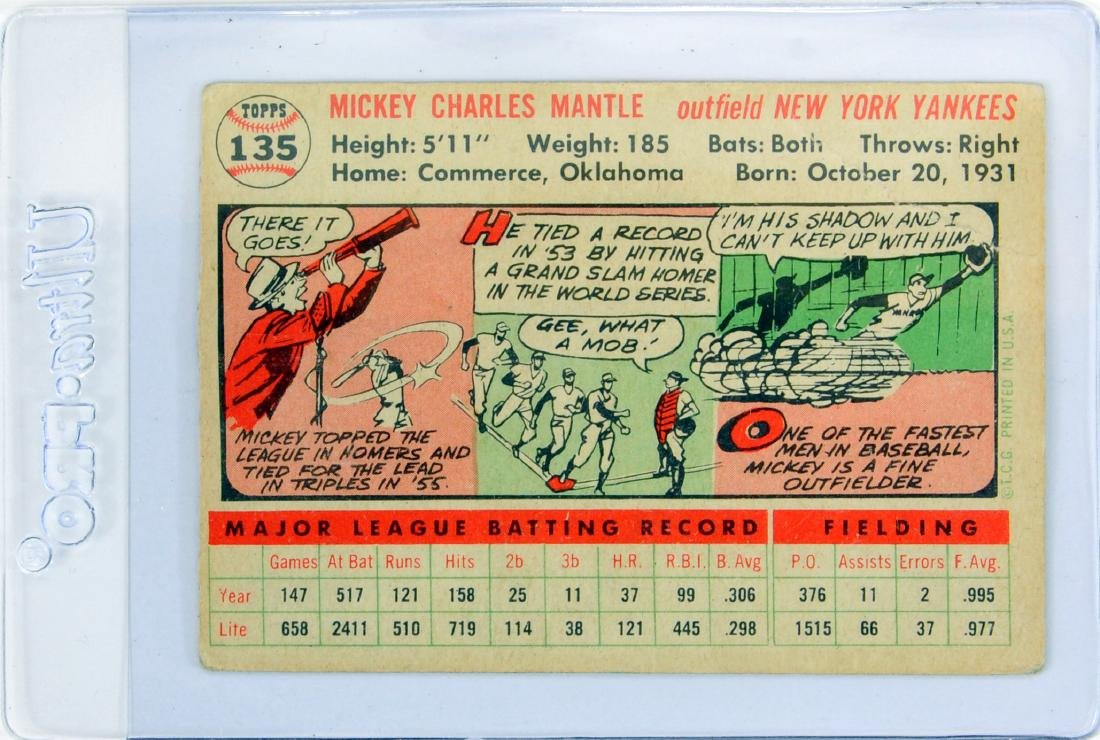 1956 Topps Mickey Mantle Ungraded - 2