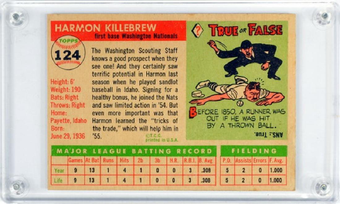 1955 Topps Harmon Killebrew Rookie Card Ungraded - 2