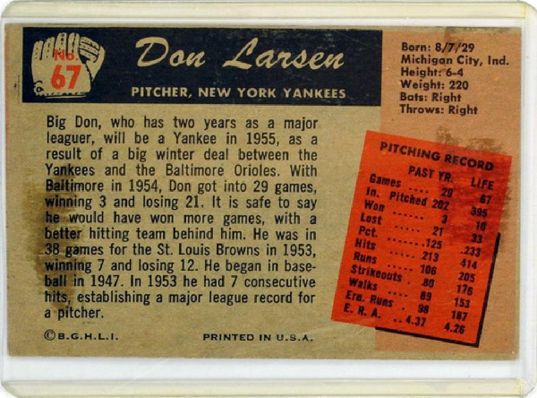 Two 1955 Bowman Cards Hoyt Wilhelm And Don Larsen - 4