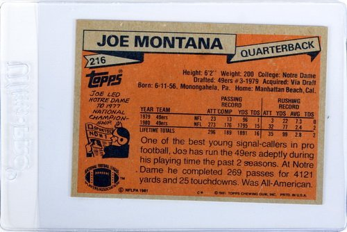 1981 Topps Joe Montana Rookie Ungraded - 2