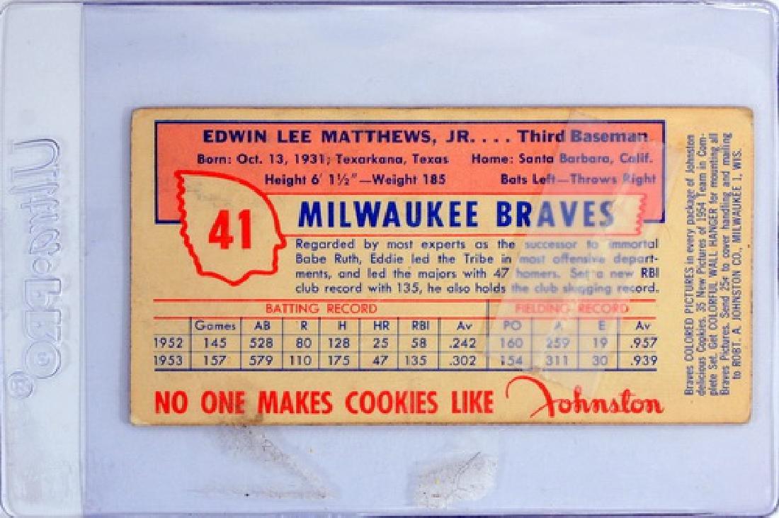 1954 Johnson Cookies Eddie Mathews - 2