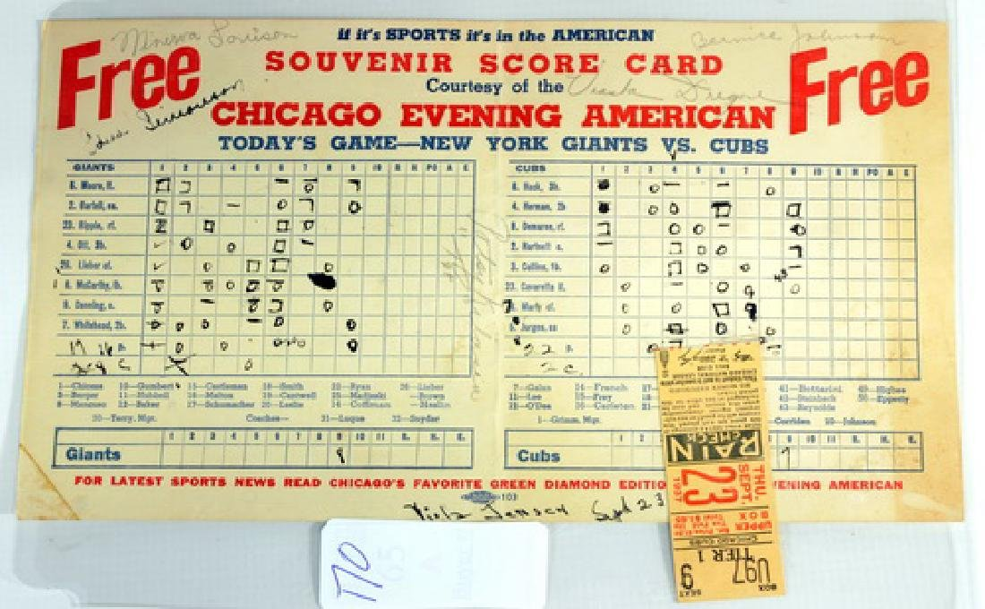 1937 Cubs Versus Giants Scorecard And Ticket