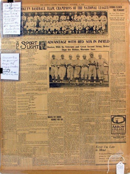 Three Matted Newpapers 1916 Baseball Era