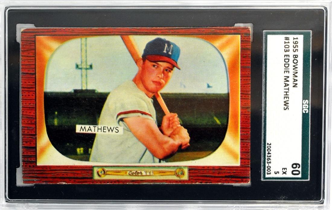 1955 Bowman Eddie Mathews Sgc 60 Ex 5