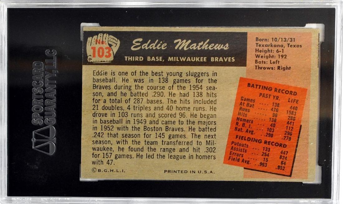 1955 Bowman Eddie Mathews Sgc 60 Ex 5 - 2