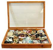 Wooden Case Filled With Costume Jewelry