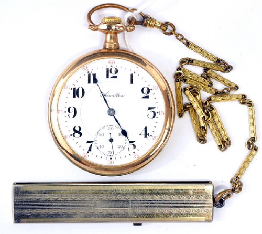 Hamilton Gold Filled Open Faced Pocket Watch