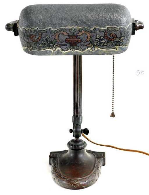 - Antique Handel Mosserine Bronze Desk Lamp