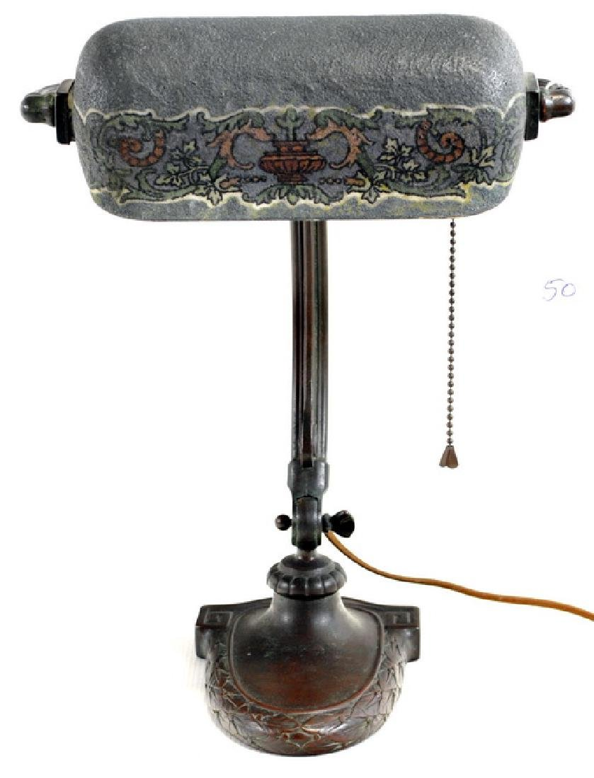 Antique Handel Mosserine Bronze Desk Lamp