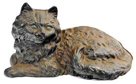 Antique Cast Iron Hubley Cat Door Stop With Green