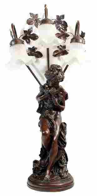 Vintage Aphrodite Faux Bronze Table Lamp