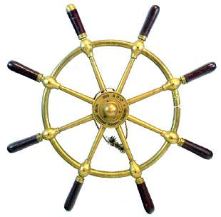1950's Brass Ship's Wheel