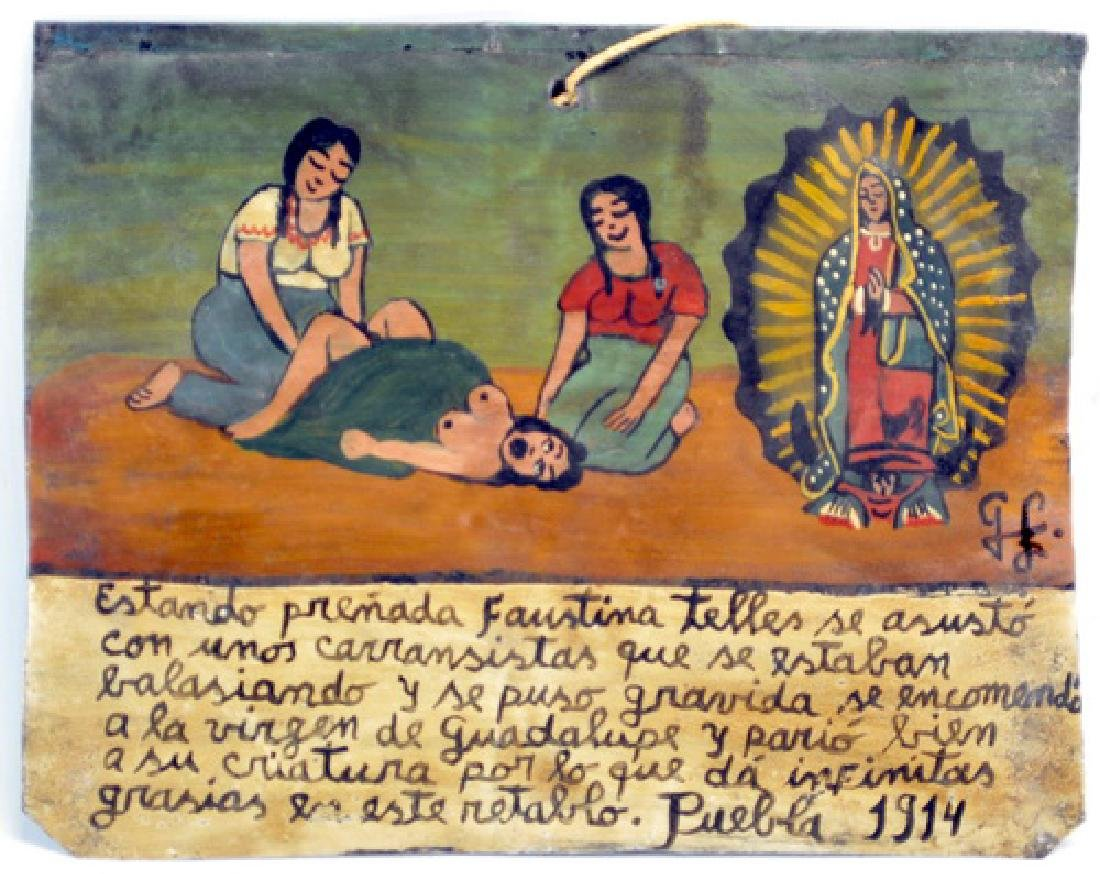 Mexican Folk Art Retablo 1914