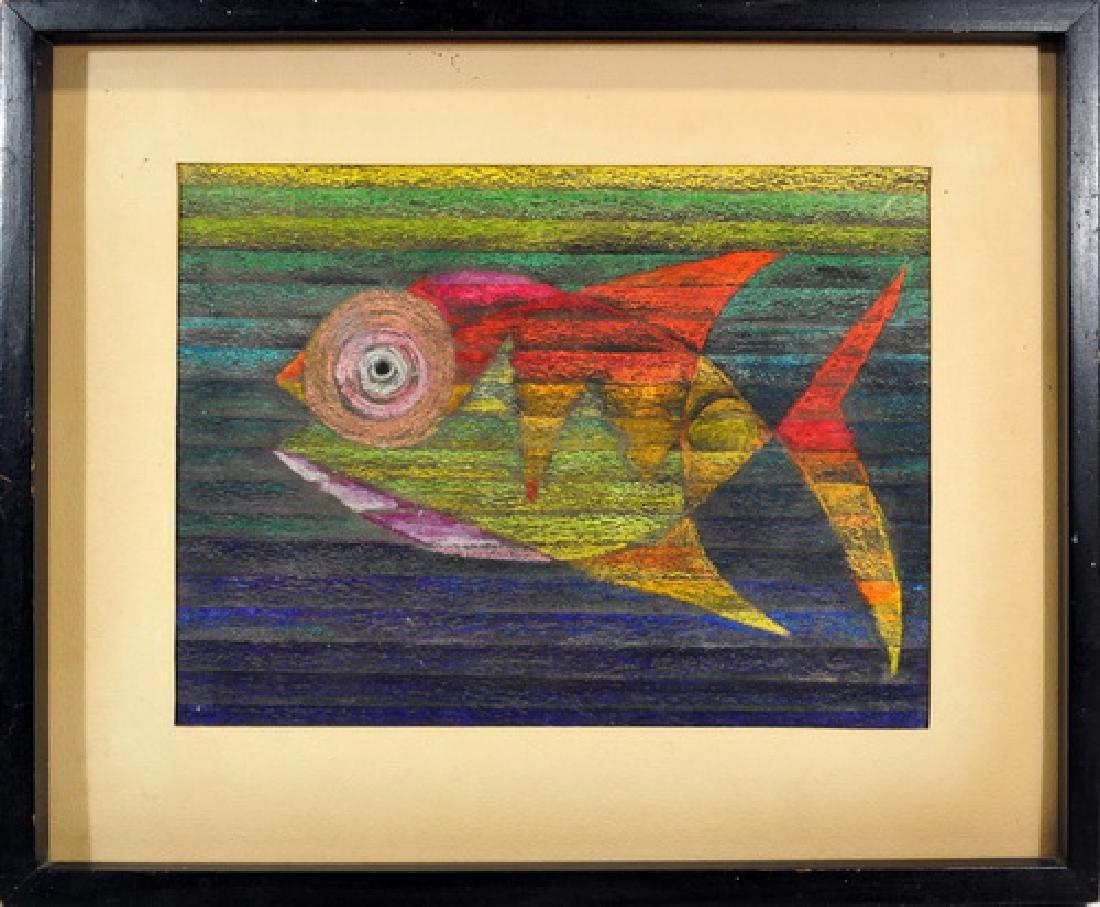 Mexican Folk Art Crayon Fish Painting