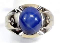 Men's 14k White Gold Diamond & Star Sapphire Ring