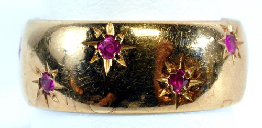 Ladies 14k Yellow Gold Ruby Wide Band Size 9.75