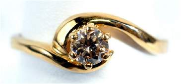 Ladies 14k Yellow Gold 1/4 Ct Diamond Ring Size 5
