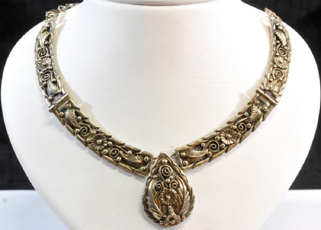 Vintage Sterling Silver Necklace With Floral