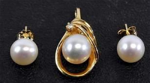 Ladies 14k Diamond Pearl Pendant & Pearl Earrings