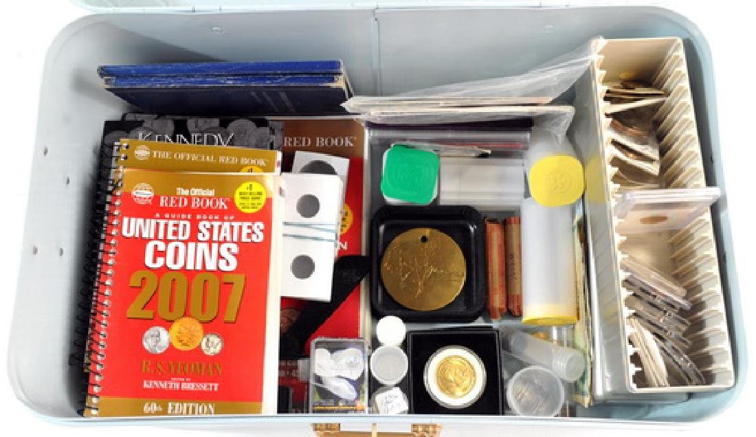 Box Lot of US & World Coins and Supplies